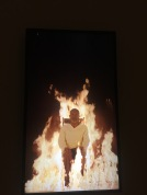 Man on fire as part of Phlogiston. Probably the most overwhelming piece in the gallery.