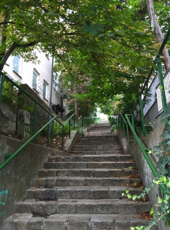 The first of many flights of stairs up to Slavin.