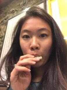 Eating rice crackers that tastes like cardboard