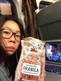 Granola seems to be the tastiest option for train rides.