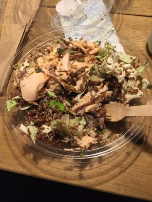I had take out in Copenhagen because there was no kitchen. This was a Salmon, quinoa and kale salad. It sounded good but really, the chef forgot to add taste to it.