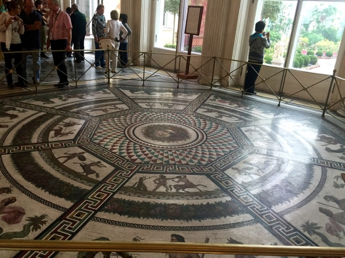 Many of the rooms had amazing mosaic features like this. And then they would have the same patterns on tables.