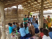 We gave out bags, water bottles, pencils, school books and other school-stuff.