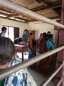 Interviewing the women of Sirthauli in an old multi-purpose building.