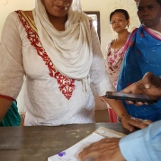 She's a the collector for women in Sirthauli. She collects the loan repayments on a monthly, or 6-monthly basis.