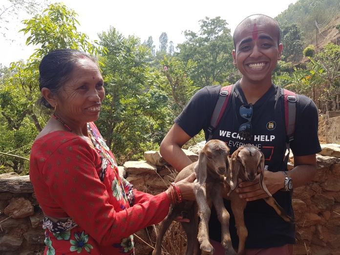 Lakshwin loves baby goats.