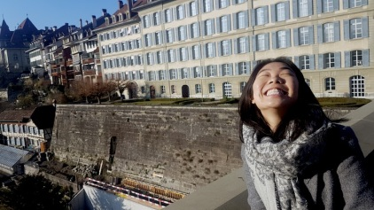 Grinning because the sun rarely shines in winter.