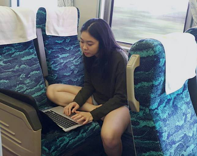 Working on a train in Taiwan
