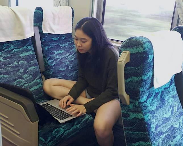 Working on a train in Taiwan